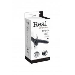 Proteza-VIBRATORE STRAP ON CAVO REAL RAPTURE 8 BLACK WITH BALLS -